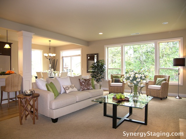 Home staging is synergy for david peterson nik murrow for Staged living room ideas